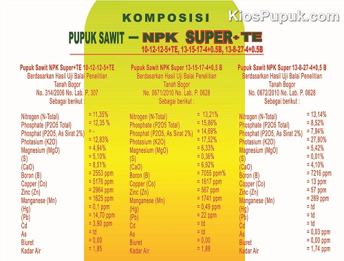 Komposisi NPK SUPER TE